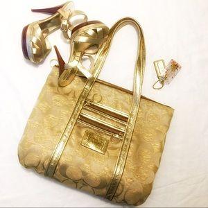 Coach Gold zip top shoulder bag